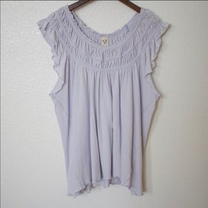 FREE PEOPLE Blue Flowy Boho Ruffle Top - Size M